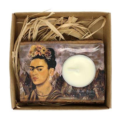 Frida - Otoportre - Ahşap Mumluk