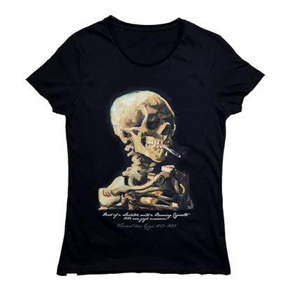 Van Gogh - Sigara İçen Kafatası - Tişört resmi