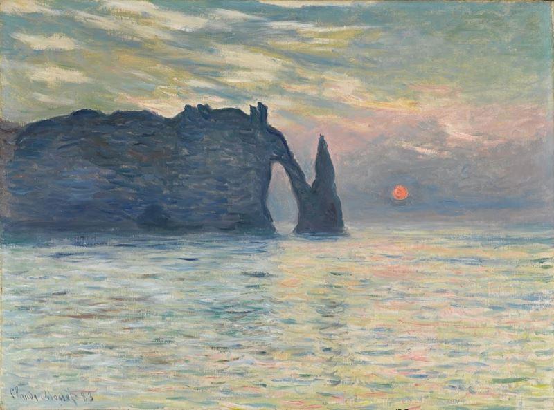 Kayalık, Étretat, Günbatımı, 1882-1883 resmi