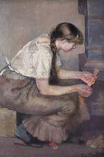 Show Girl Kindling a Stove, 1883 details