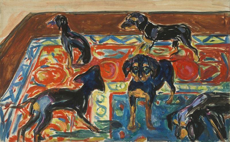 Halıda Beş Köpek Yavrusu, 1919-1921 resmi