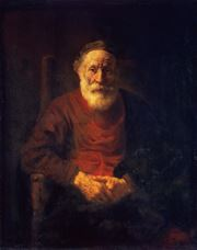 Show Portrait of an Old Man in Red, 1652-1654 details