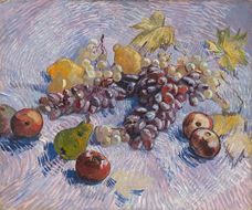 Show Grapes, Lemons, Pears, and Apples, 1887 details