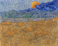 Show Landscape with Wheat Sheaves And Rising Moon, 1889 details