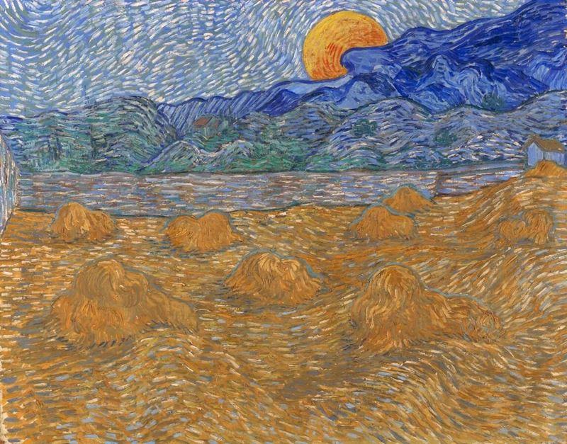 Buğday Demetleri ve Yükselen Ay ile Manzara, 1889 resmi