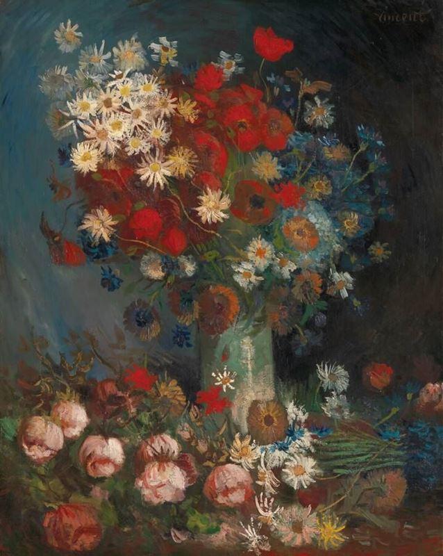 Güller ve Çayır Çiçekleri ile Natürmort, 1886-1887 resmi