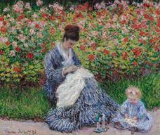 Sanatçının Argenteuil'deki Bahçesinde Camille Monet ve Çocuk, 1875