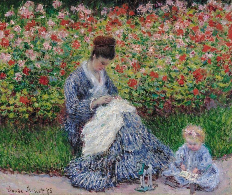 Sanatçının Argenteuil'deki Bahçesinde Camille Monet ve Çocuk, 1875 resmi