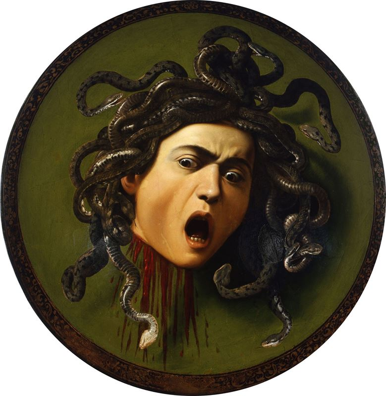 Medusa, 1598, Tuval üzerine yağlıboya, Çap 58 cm, Uffizi Gallery, Florence, İtalya.