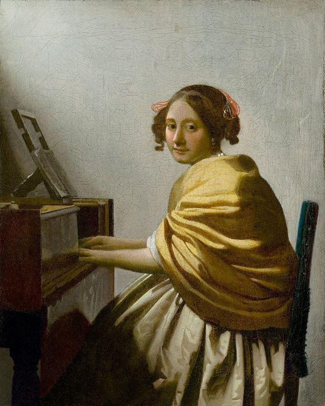 Piyanosunda Oturan Genç Kadın, 1670-1672 resmi