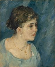Show Portrait of Woman in Blue, 1885 details