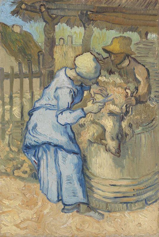 Koyun Kırpma (Millet'den esinle), 1889 resmi