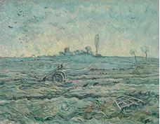 Show Snow-Covered Field with a Harrow (after Millet), 1890 details
