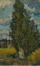 Show Cypresses and Two Women, 1890 details