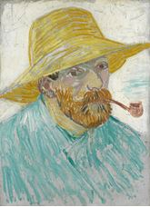 Show Self-Portrait with Pipe and Straw Hat, 1887 details