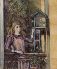 Show Girl with Birdcage, c. 1888 details