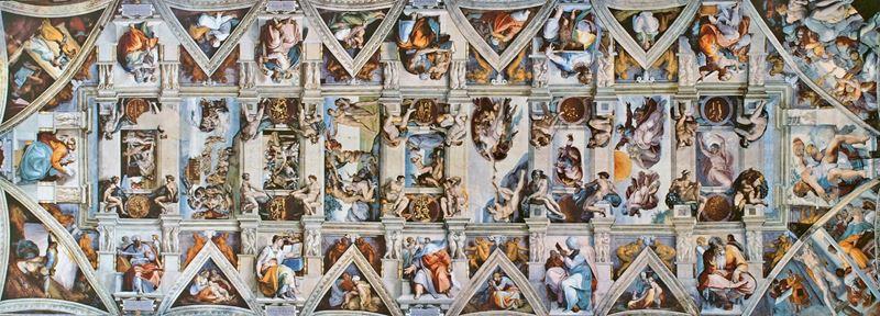 Sistine Şapeli tavanı, 1508-1512, Fresk, 13.7 x 39 m, Vatikan.