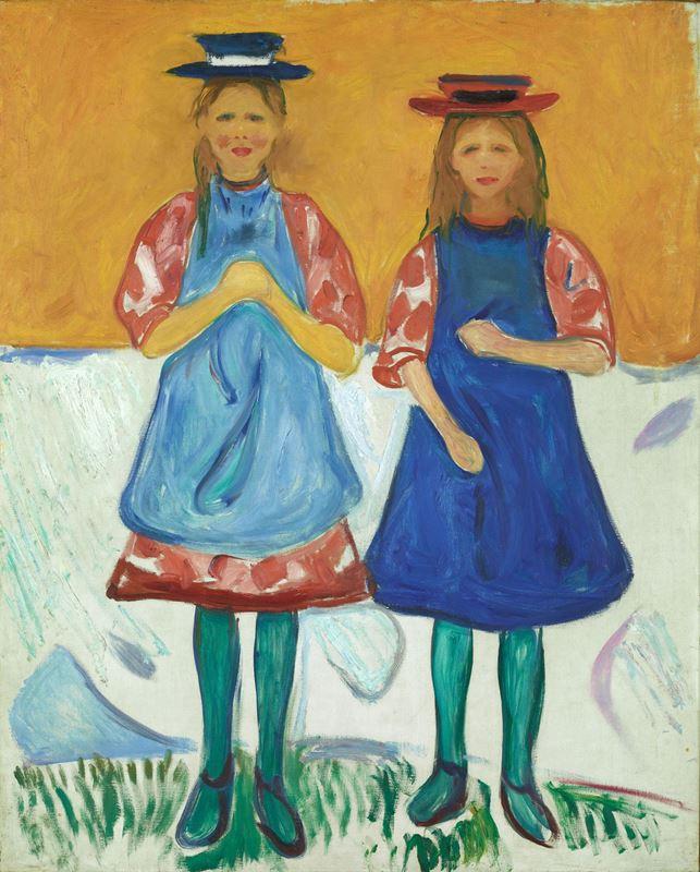Mavi Önlüklü İki Kız, 1904-1905 resmi