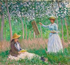 Show In the Woods at Giverny: Blanche Hoschedé at Her Easel with Suzanne Hoschedé Reading, 1887 details