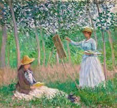 Giverny Ormanı: Kitap Okuyan Suzanne Hoschedé ile Şövalesinde Blanche Hoschedé, 1887