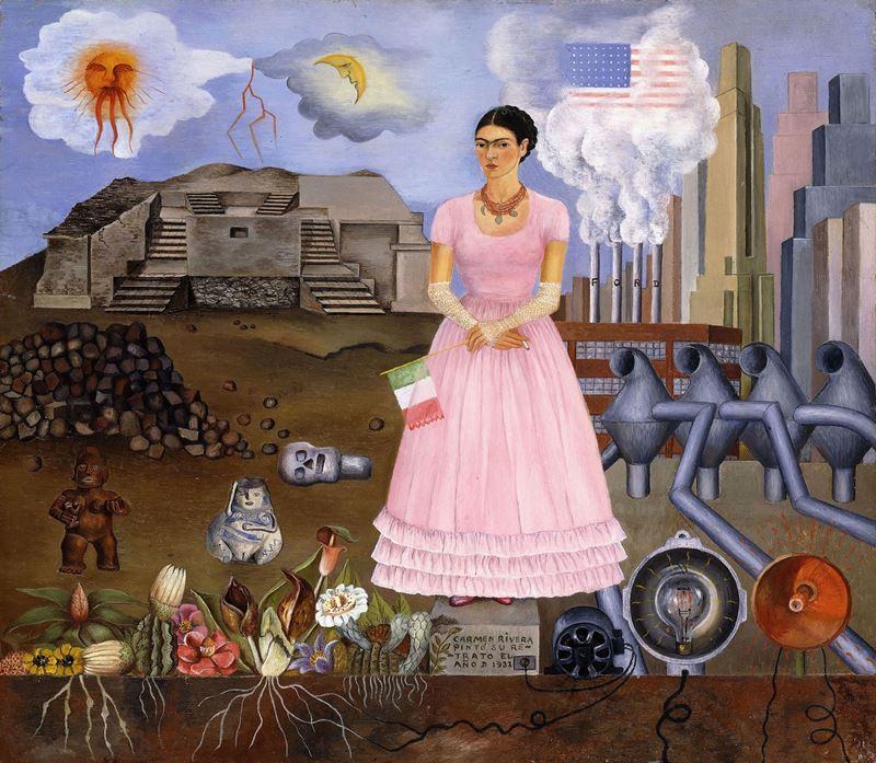 Meksika ve Birleşik Devletler Arasındaki Sınırda Otoportre, 1932 resmi