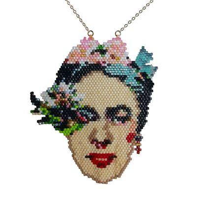 Frida - Çiçekli Portre Tasarım - Miyuki Kolye
