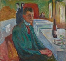 Show Self-Portrait with a Bottle of Wine, 1906 details
