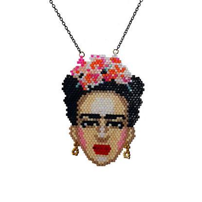 Frida - Begonvil Çiçekli Portre Tasarım - Miyuki Kolye