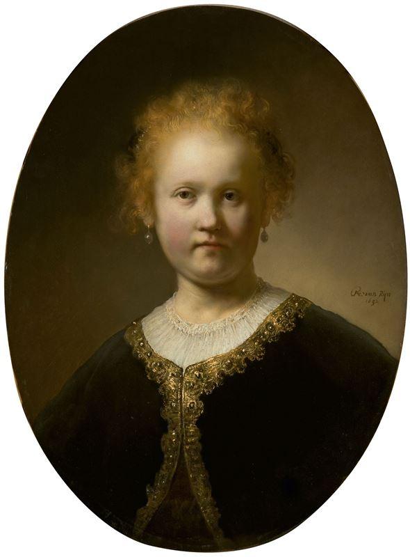 Altın İşlemeli Pelerin İçinde Genç Kız, 1632 resmi