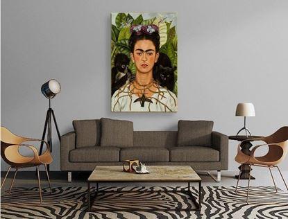 Frida - Dikenli Kolye ve Sinekkuşu ile Otoportre - Kanvas Tablo