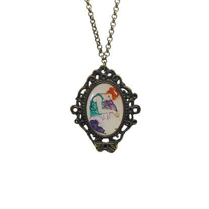 Schiele - Dizi Bükük Oturan Kadın - Kolye