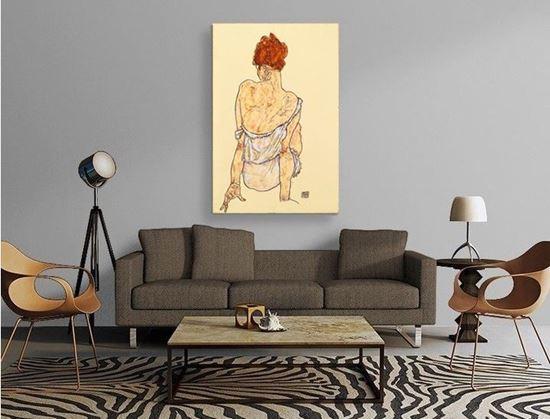 Schiele - Arkası Dönük Oturan Kadın - Kanvas Tablo