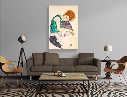 Schiele - Dizi Bükük Oturan Kadın - Kanvas Tablo