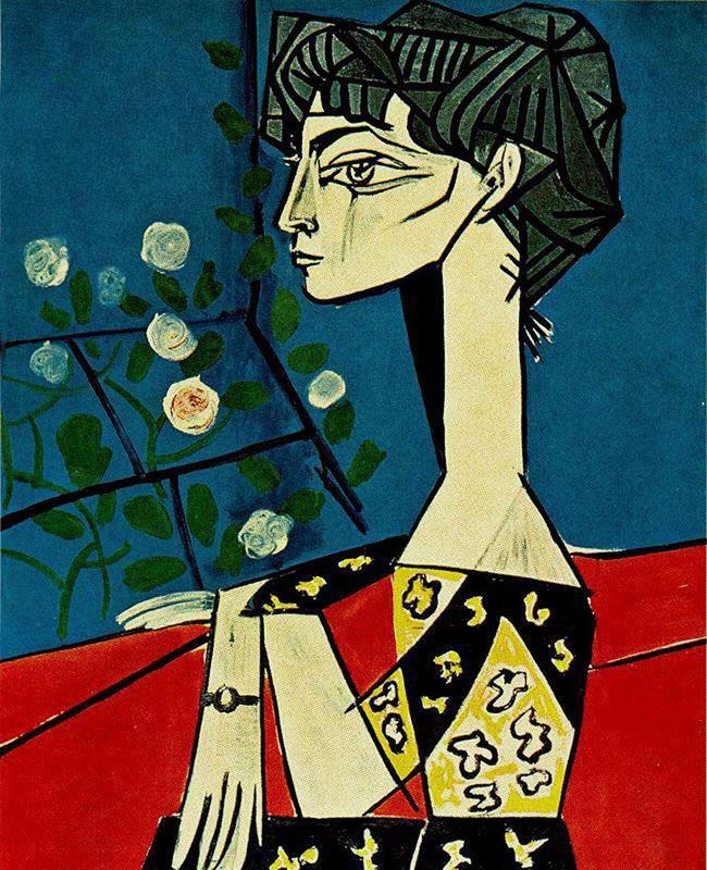 Jacqueline Çiçeklerle, 1954 resmi