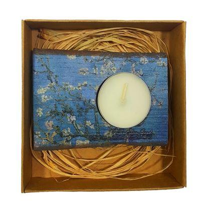 Van Gogh - Çiçek Açan Badem Ağacı - Ahşap Mumluk