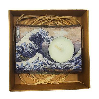 Hokusai - Kanagawa'nın Büyük Dalgası - Ahşap Mumluk