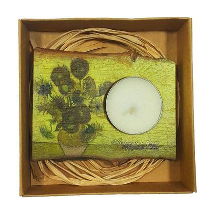 Van Gogh - Ayçiçekleri - Ahşap Mumluk