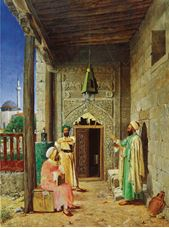Show Hojas Conversing in front of the Mosque Door, c. 1890 details