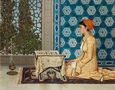 Show Girl Reading the Quran, 1880 details
