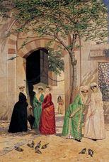Sultan Ahmet Cami Kapısında Kadınlar, 1890 dolayları