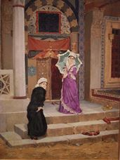 Show Two Women in Front of the Tomb Door, 1883 details