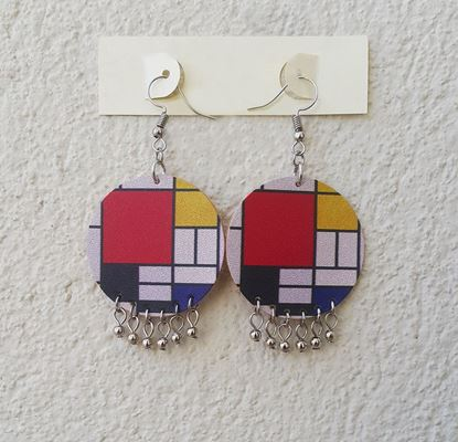 Mondrian - Kırmızı, Sarı, Mavi ve Siyah ile Kompozisyon - Deri Küpe