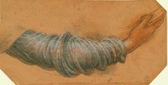 Show Meryem için kol çalışması, 1508-1510 dolayları, Açık renk kırmızı kağıda siyah ve kırmızı tebeşir, kalem ve mürekkep, Royal Collection, Windsor Castle, İngiltere. details