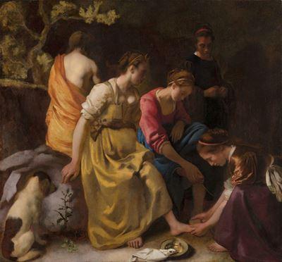 Show Diana ve Arkadaşları, 1653-1654 dolayları, Tuval üzerine yağlıboya, 97.8 x 104.6 cm, Mauritshuis, The Hague, Hollanda. details