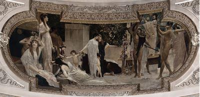 Show Burgtheatre'dan duvar süslemesi, 1888, Burgtheatre, Vienna, Avusturya. details