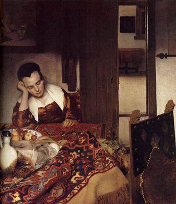 Show Uyuyan Genç Kız, 1656-1657 dolayları, Tuval üzerine yağlıboya, 87.6 x 76.5 cm, The Metropolitan Museum of Art, New York, ABD. details