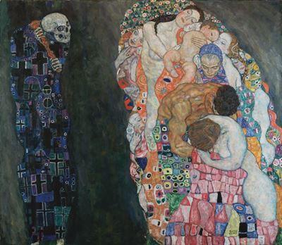 Show Ölüm ve Yaşam, 1916, Tuval üzerine yağlıboya, 178 x 198 cm, Leopold Museum, Vienna, Avusturya. details