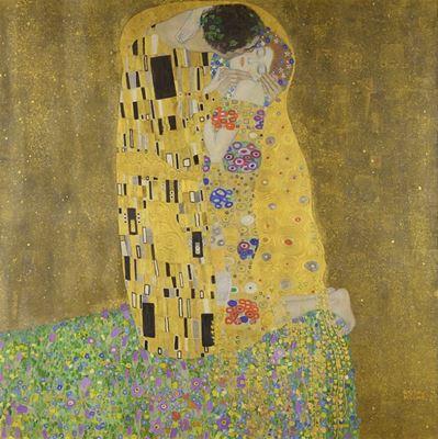 Show Öpücük, 1907-1908, Tuval üzerine yağlıboya, 180 x 180 cm, Österreichische Galerie Belvedere, Vienna, Avusturya. details