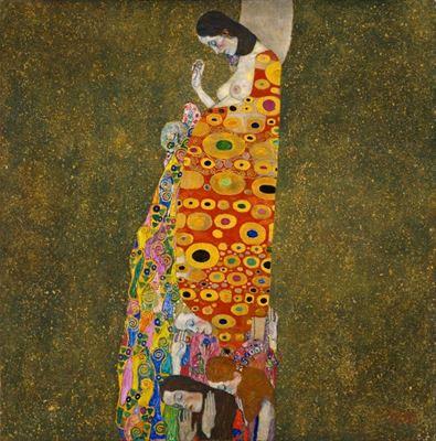 Show Umut II, 1907 - 1908, Tuval üzerine yağlıboya, altın varak, 110.5 x 110.5, Museum of Modern Art, New york, ABD. details
