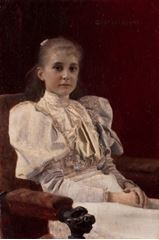 Show Oturan Genç Kız, 1894, Ahşap üzerine yağlıboya, 96 x 140 cm, Leopold Museum, Vienna, Avusturya. details